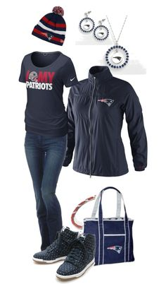 A fashion look from January 2013 featuring sports t shirts, logo sportswear and zip jeans. Browse and shop related looks. New England Patriots Gear, Patriots Football, Patriotic Outfit, Boston Strong, Team Gear, Tom Brady, Sport T Shirt, Sport Fashion, Girls Shopping