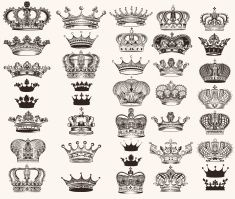 Collection of vector royal crowns for heraldic design