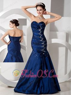 Exquisite Navy Blue Mermaid Evening Dress Sweetheart Taffeta Beading and Ruch Floor-length  http://www.fashionos.com  This elegant fit and flare mermaid gown is a gorgeous work. The ruched bodice has a sweetheart neckline that is beautifully accented with zigzag shaped beading. A bow adorns the mid-section of the dress, leading up to the focal point. Make the magic happen in this fabulous prom dress! prom dress in royal blue   low price prom dress for dancing club  