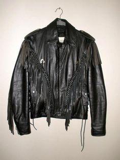 mt Fureal Limited Leathers Black Fringed Leather Coat 34