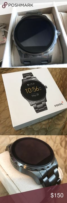 Fossil Q Marshall smart watch Fossil smart watch. Smoke grey. Minimal braclet wear. No screen scratches. Has original box and charger. Still under fossil 2 year warranty. Has extra band links also. Fossil Accessories Watches
