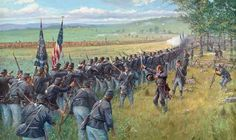 ACW- Union: Fighting on the Ridges, by Dale Gallon. Gettysburg, PA, July 1863 - Iverson's Brigade & the Union First Corps.