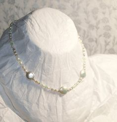 Fresh Water Pearl and Swarovski Peridot and by SilverLinedShadows, $45.00
