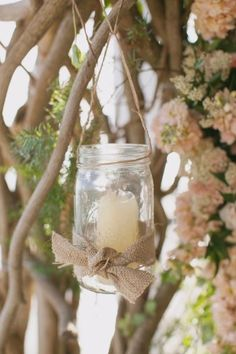 Hanging votives -- love the #burlap, too!