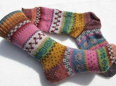 Colorful socks – knitted socks in Nordic Fair Isle patterns – socken stricken Wool Socks, My Socks, Knitting Socks, Baby Knitting, Knitting Projects, Knitting Patterns, Baby Boy Booties, Yellow Socks, Fair Isle Pattern