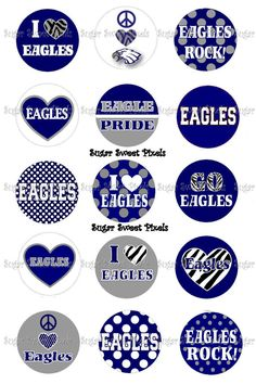 INSTANT DOWNLOAD Eagles 2   School Mascot 1 inch by sugarnspicebow, $1.80