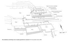 135/ PÉRIODE INTER. ANCIENNE / NAZCA. Cahuachi. Le Grand Temple en haut de la Grande Pyramide : évolution depuis sa création. 20m de hauteur, plateformes échelonnées tout le long de la déclivité. On trouve à partir de 200 ap les premières traces de sa construction, en briques d'adobe coniques. L'épaisseur des murs est entre 80 et 100 cm. Construction en deux temps : rangée de 4 piliers / murs autour de la partie hypostyle pour un plan presque carré. Urnes, fragments de flûte, lama, …