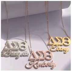 Initial Necklace/ Sideways Initial Necklace/ Monogram Necklace in Solid Gold/ Personalized Monogram Necklace/ Personalized Jewelry - Fine Jewelry Ideas Diamond Bar Necklace, Gold Name Necklace, Monogram Necklace, Delta Sigma Theta Gifts, Alpha Kappa Alpha, Delta Girl, Sorority And Fraternity, Aka Sorority, Teardrop Necklace