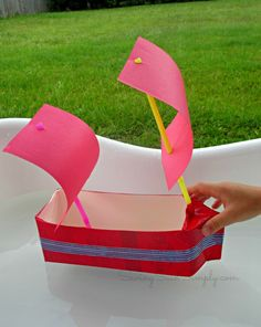 [Milk Carton #1] Boat using construction paper and marker instead of paint (waterproof with clear tape). Masts can be made with toilet paper rolls.