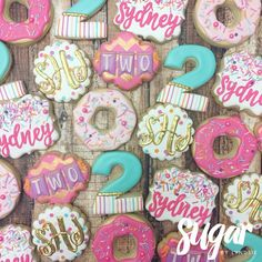 "368 Likes, 13 Comments - Lyndsie Hays (@sugarbylyndsie) on Instagram: ""Cookies for Sydney's donut party! Happy 2nd birthday!!  #customcookies #decoratedcookies #dfw…"""