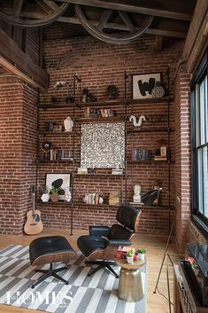 A young couple makes downtown their home in a contemporary industrial loft. Photography by Anne Matheis.