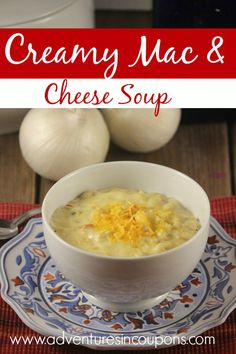 Mac & Cheese lovers rejoice! This creamy mac & cheese soup recipe is a yummy new take on an old favorite! It's perfect for a weeknight dinner and tasty enough to grace your Sunday table as well!
