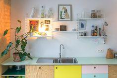 """Kitchen and bathroom furniture in plywood, OSB and colorful HPL laminate // Keuken en badkamermeubel in multiplex, OSB en gekleurd HPL laminaat. [gallery ids=""""258,265,261,262,264,266,257,256,…"""