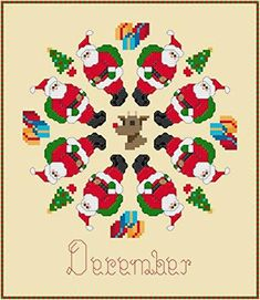 December Santas Christmas - cross stitch pattern designed by Susan Saltzgiver. Category: Quilts.