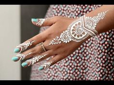 DIY How to Apply White Henna/ Body Paint Temporary Tattoo Tutorial 9 - Samira Henna Art - YouTube