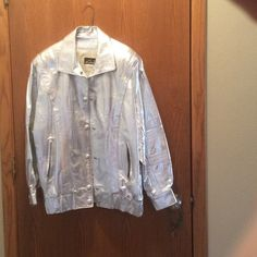 AWESOME SILVER LEATHER JACKET !  Like new ! Leather By Toby REAL LEATHER SILVER Jacket !  AWESOMELY cute for a night out on the town like VEGAS or just a night out with the girls ! Leather By Toby Jackets & Coats
