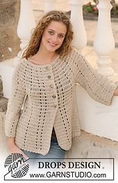 """Ravelry: 111-36 Jacket in """"Muskat"""" with 3/4 Sleeves pattern by DROPS design"""