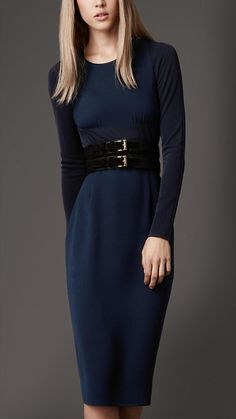 "Great silhouette, excellent pairing of navy and black by Burberry. What a fantastic option for a long-sleeve dress that is far from ""blah"". #InstantClassic"