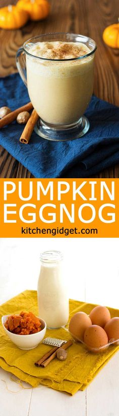 Get the holidays started with this easy homemade pumpkin eggnog! Rich and creamy with cinnamon, nutmeg, pumpkin spice and real pumpkin!