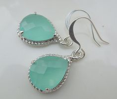 Bridal Rhinestone Earrings  Mint Teardrop Faceted by DivineJewel, $20.00