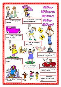 WHO, WHERE, WHEN, WHY, WHAT worksheet - Free ESL printable worksheets made by teachers