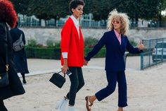 The Best Street Style At Paris Fashion Week SS17 #refinery29 http://www.refinery29.uk/2016/10/124657/street-style-paris-fashion-week-ss17#slide-27 We're obsessed with Samile Bermanneli's pillar box red blazer....