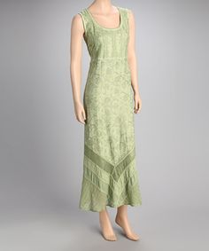 Take a look at this Green Floral Maxi Dress by Papillon Imports on #zulily today!