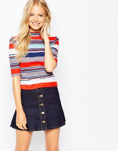 Monki High Neck Knitted Top