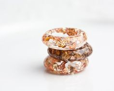 Resin Ring Yellow Pink Gold Flakes Small Faceted by daimblond, €22.00