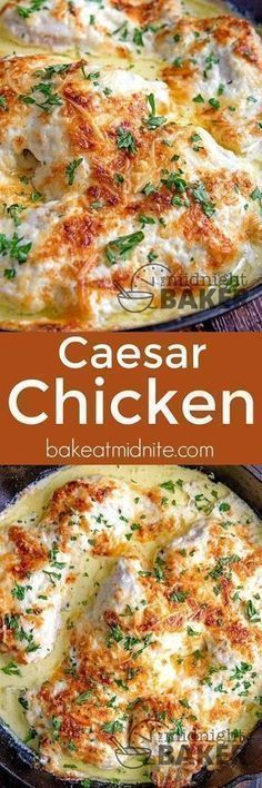 This Caesar chicken is one of the most delicious and easy dinners you'll ever make! This Caesar chicken is one of the most delicious and easy dinners you'll ever make! Turkey Recipes, Dinner Recipes, Oven Chicken Recipes, Baked Chicken, Smothered Chicken, Cocktail Recipes, Appetizer Recipes, Comida India, Easy Dinners