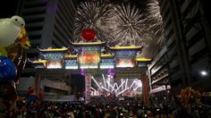 Spectators watch as colourful fireworks light up the night sky welcoming the Chinese New Year at the Chinatown in Manila February 7, 2016