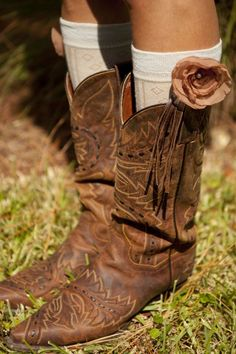 Boot Socks - Classy Country, boot socks with flower. $23 www.classycountrystore.com