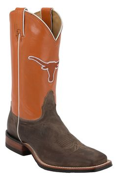 Nocona Men's University of Texas Vintage Brown with Logo on Burnt Orange Top Double Welt Square Toe Western Boots