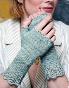 A frothy, lacy cuff flows organically into ribbing and then stockinette stitch before finishing in a row of clean eyelets. A superwash merino singles yarn gives each stitch round, delicate definition. Fingerless Gloves Knitted, Crochet Gloves, Knit Mittens, Knitted Hats, Knit Crochet, The Mitten, Knitting Patterns Free, Free Knitting, Knitting Socks