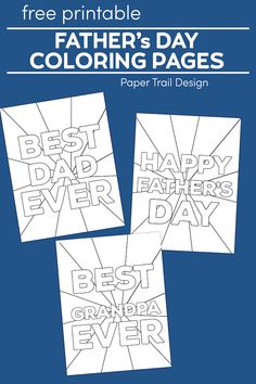 Happy Father's Day Coloring Pages Free Printables. Fun present from kids. Best Dad Ever with Grandpa card. Fathers Day Crafts, Happy Fathers Day, Craft Activities For Kids, Crafts For Kids, Craft Ideas, Fathers Day Coloring Page, Happy Birthday Cupcakes, School Coloring Pages, Best Dad Gifts