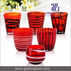 Handmade craft decorative glass cup Colorful glass tea cup handleless coffee mugs made in China
