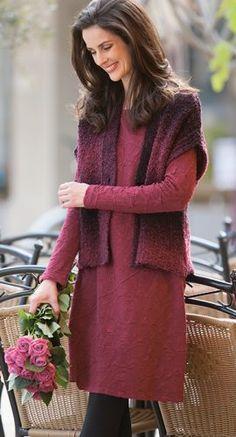 Naturtextilien - Weste aus Schurwolle in Farbverlauf, Kleid Jacquard aus Bio Baumwolle mit Modal Edelweiss, Größen S bis XL - Finesse Fashion ©
