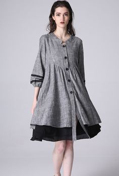 Boho dress in loose style with buttons in front, giving a relaxed feeling. DETAIL * Gray Linen Dress, Black Lace, Black Chiffon Lining * Mini Dress, Woman Dress, Casual to Party Dress * Easy, Flattering Fit & Flair *Trendy Cute Dresses * 3/4 Sleeve * Bishop sleeve style * Shirt dress *