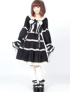 Cotton Black Long Sleeves Lace Cotton Gothic Lolita Dress