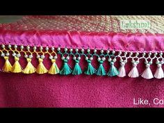 Saree Kuchu/tassel multi color thread with smal beads- easy techniques Saree Kuchu New Designs, Saree Tassels Designs, Kids Blouse Designs, Blouse Designs Silk, Cd Crafts, Saree Wedding, Embroidery Designs, Crochet, Beads