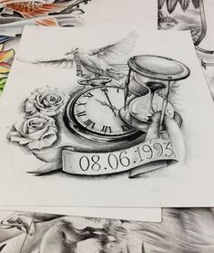 dove / watch / hourglass / time / banner / date / rose / chain / sand / dove tattoo / watch tattoo / hourglass tattoo / time tattoo / banner tattoo / date tattoo / rose tattoo / chain tattoo / sand ta. Date Tattoos, Mom Tattoos, Tattoos For Guys, Clock Tattoos, Time Clock Tattoo, Heaven Tattoos, Rip Tattoo, Tattoo Moon, Tattoo Arm