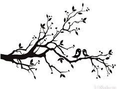 black and white flowering tree sketch | Cherry Blossom Branch Bird Vinyl Wall Decal Wd F image - vector clip ...