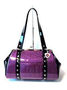 Purple Sparkle Purse Black Gloss Trim Vinyl Bag Rockabilly Psychobilly Handbag - MADE TO ORDER