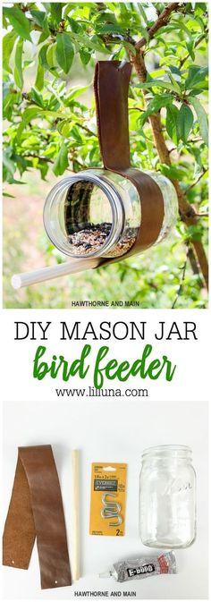 Take a look at this simple DIY Bird Feeder. What a funny way, … - Easy Diy Garden Projects Pot Mason Diy, Mason Jars, Mason Jar Crafts, Homemade Bird Feeders, Diy Bird Feeder, Bird House Feeder, Garden Projects, Projects To Try, Garden Ideas