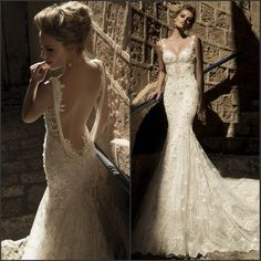 New Arrival 2015 Sexy Backless vestido de noiva With Pearl Chain Court Train Straps Lace Mermaid Wedding Dresses