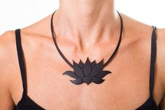 Lotus  Recycled Inner Tube Necklace handcutted by MorganaCrea, €22.00