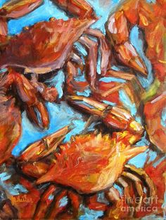 Crab Pile Canvas Print by JoAnn Wheeler. All canvas prints are professionally printed, assembled, and shipped within 3 - 4 business days and delivered ready-to-hang on your wall. Choose from multiple print sizes, border colors, and canvas materials. Crab Painting, Fabric Painting, House Painting, Pool House Decor, Crab Art, Fish Art, Deco Marine, Louisiana Art, Thing 1