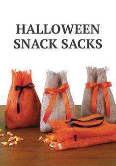 Put yummy treats in these DIY Burlap Snack Sacks for Halloween. | Burlap Craft @ joann.com !