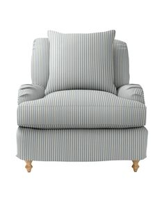 Our Miramar Chair achieves that magical combination of curl-up comfort and structure that holds its shape. The look is casual, beachy and effortlessly chic. Working closely with our manufacturer, we custom-tailored every last detail — from a seat that's deep and cushy to perfectly proportioned roll arms and elegant turned-wood legs.