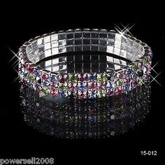 Crystal 3Row Stretch Bangle Bracelet Bridal Party Jewelry Wedding Accessories A